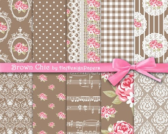 """Brown digital paper : """"Brown Chic"""" shabby chic digital paper with pink roses on brown background, digital scrapbook paper, decoupage paper"""