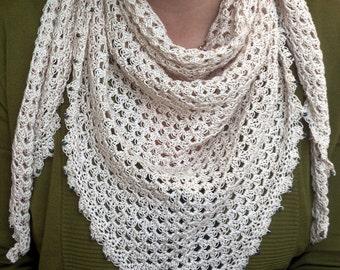 Cream crochet shawl,cotton scarf,triangle wrap,beaded shawls,summer scarves,women summer scarve,cover up,wedding accessory,children summer