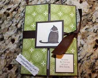 Stampin Up Homemade Greeting Card Sympathy Cat Candllight