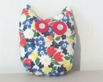 Red Yellow White Flowered Stuffed owl