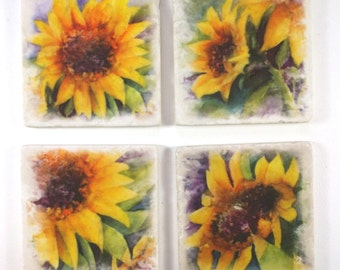 Sunflower  Absorbent Tumbled Stone Coasters, Original Watercolor