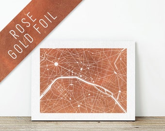 PARIS, France: Collectable Rose Gold Foil City Map Print for Wanderlust Travellers by Little Nomad Studio
