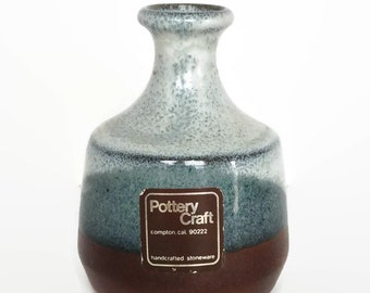 Vintage Pottery Craft clay vase blue and brown glaze stoneware decor