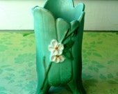 Fantastic, Aqua, Foix Bois, Weller, Art Pottery Vase with Dogwood blossoms