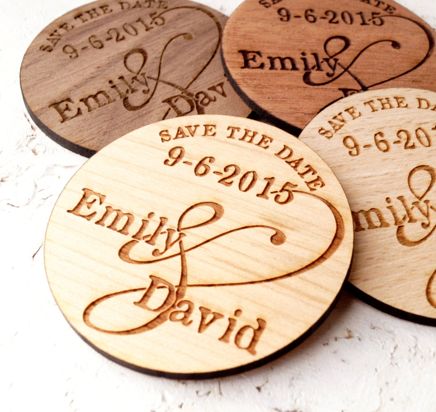 Wooden Save-the-Date magnets personalized by CorkCountryCottage