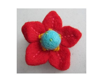 SALE Red & turquoise felt flower brooch