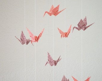 Mobile with Cranes made of japanese paper purple/rose