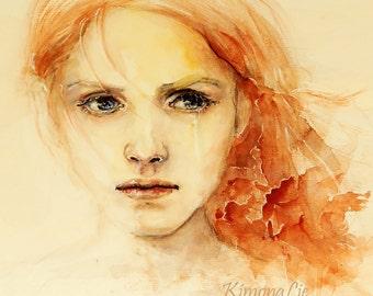 """Art Print / Print / watercolor drawing / painting """"la fille"""""""