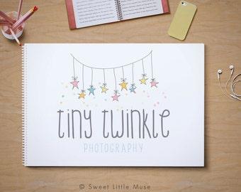 Premade photography logo - watercolor logo design - photography - photographer logo - pre made logo -  stars logo - newborn photography logo