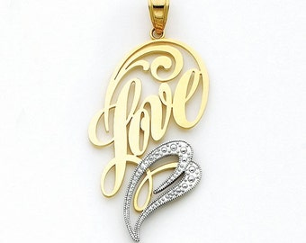 14K Two-Tone Love Pendant, Love Pendant, Love Jewelry, Gold Pendant, Heart Pendant, Heart Jewelry, Heart, Love