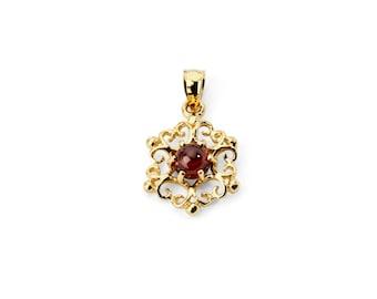 14K Yellow Gold Garnet Pendant, Garnet Pendant, Gold Pendant, Garnet Jewelry, Gold Jewelry, Fancy Jewelry, Fancy Pendant, Garnet, Gemstone