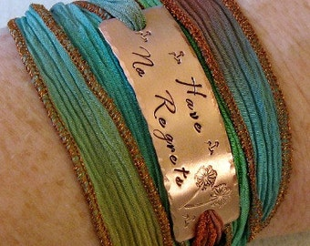 Have No Regrets Hand Stamped Silk Ribbon Wrap Bracelet, Yoga Wrap Hipster Bracelet - Boho, Hippie, Indie Jewelry