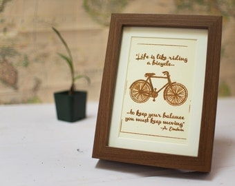 "Framed Gocco print ""Life is like riding a bicycle"""