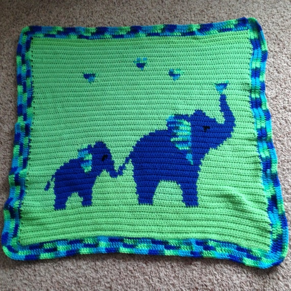 PATTERN: Mommy & Baby Elephant Baby Blanket by DevotedWoods