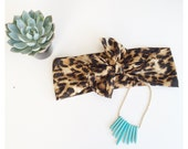 Leopard Boho Head Wrap, Animal Print Wide Hair Bow Headband,Tie Head Scarf Messy Bow Hair Wrap, Turban Headband, Turband Hair Wrap