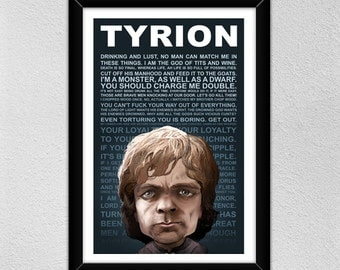 Tyrion Lannister Poster // Peter Dinklage // Quotes // Christmas Gift // Game of Thrones