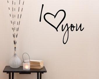 Love Wall Decal - I Love You Heart Wall Sticker - Heart Wall Art - Love Decor - Word Wall Decals - Word Wall Art - Love Stickers - QU104