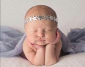 baby star headband, silver headband, star headband, star chain headband, silver headband - headband baby