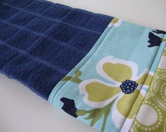 Decorative Kitchen Dish Towels - Fabric Trimmed Hand Towel - Tea Towel - Bath Hand Towel - Blue Floral Towel - Joel Dewberry