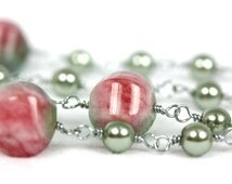Candy Jade Rosary with Powder Green Glass Pearls, Natural Stone Rosaries, Handmade Rosary, wire-wrapped Rosaries on Etsy
