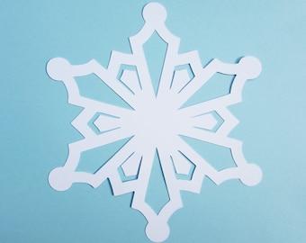 White Snowflake paper die cuts/ 25 Snowflake Cutouts / Cardstock Snowflake/ Snowflake Paper Punch/ Paper Snowflake
