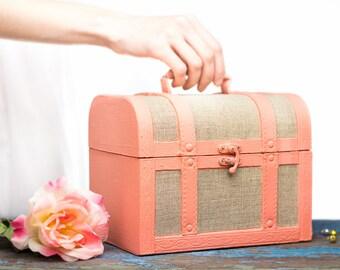 Baby shower decorations - Coral Rustic Card Box Shabby Chic Decor - Keepsake Box - Home Kitchen Decor
