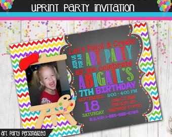 Art Birthday Party Photo Invitation Chalkboard Paint Colorful Chevron