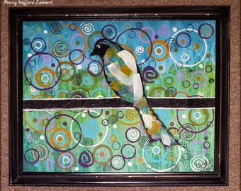 Bird on a Wire Painting, Abstract Bird Painting, Bird Painting Acrylic Painting