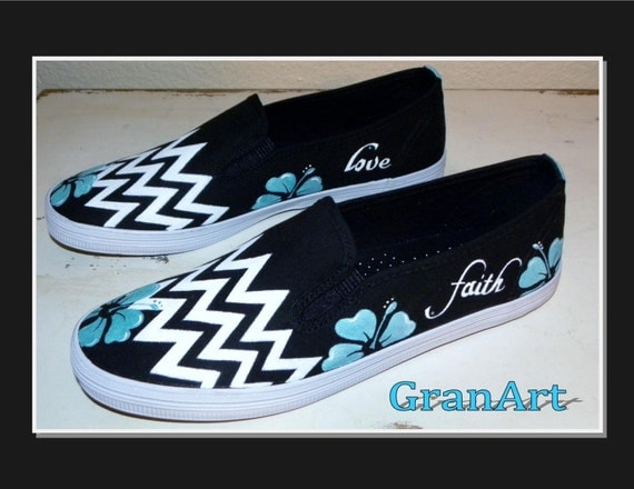 chevron canvas shoes black and white shoes painted by granart