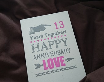 Anniversary letterpress card to celebrate YOUR year - select a number!