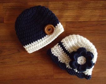 Crocheted Baby Twin Boy/Girl Hat Set in Dark Navy Blue & White ~ Baby Shower Gift ~ Photo Prop ~ Sizes Newborn to 24 Months ~ MADE TO ORDER