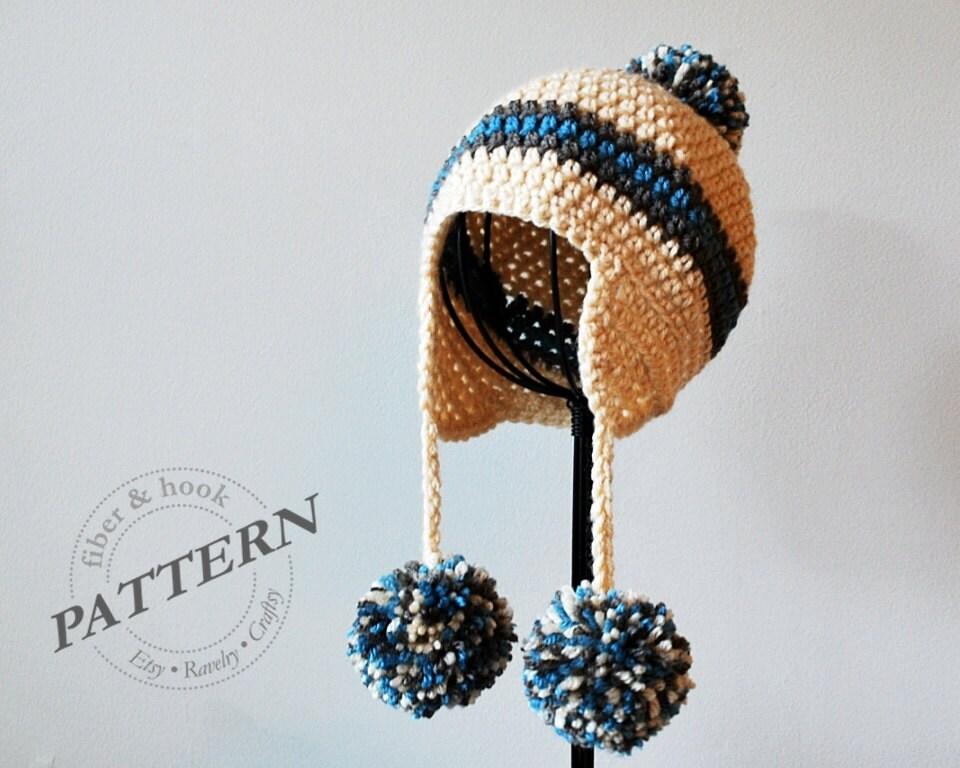 Crochet Baby Hat Pattern With Pom Pom : CROCHET PATTERN Pom-Pom Earflap Beanie Crochet Pom-Pom Hat