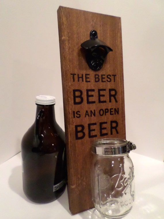 personalized wood wall mounted bottle opener by. Black Bedroom Furniture Sets. Home Design Ideas