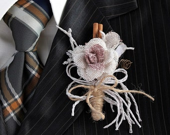 Burlap Rose Boutonniere, Rustic Buttonhole, Groom Boutonniere, Woodland Boutonniere, Burlap Corsage Pin, Country Groom, Wedding Boutonniere