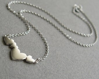 Silver heart pendant - Four heart pendant - Heart necklace - Handmade unique jewellery - Can be personalised