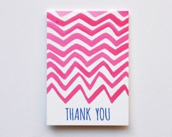 Chevron Thank You Wine Tag & Gift Cards