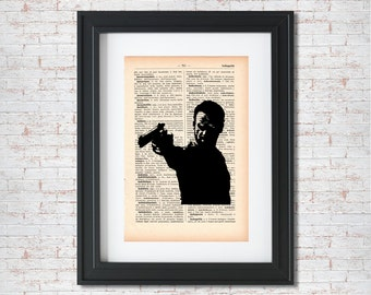 Rick with gun Silhouette The Walking Dead Dictionary art print - Upcycled dictionary art - Book print page art #036