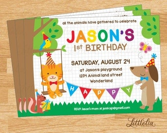 Animal party invitation - Cute animal party - Animal birthday - Cat invitation - Dog invitation - A15002