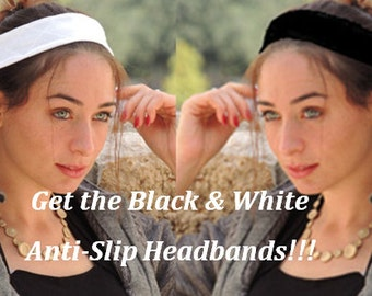 Two Non-Slip No Slip Headbands ,Great for tichel,tichel,head scarves, wigs,coverings,Slip On Headband,Turban,Yoga Headband,Hijab