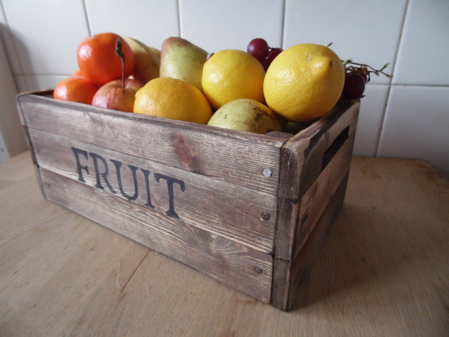 Fruit Bowl Fruit Basket Rustic Fruit Crate Solid Pine Hand