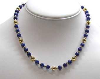 Vintage 1990s Napier Beaded Necklace Blue Glass and Gold Tone Metal
