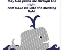 Navy and Gray Nursery Whale Art Prayer Now I Lay Me Down To Sleep Lord Boy's Room Prayer Whale Decor Ocean Sea Beach Theme Nautical Decor