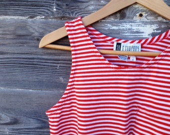 Red & White Stripe Tank Top - Size Small