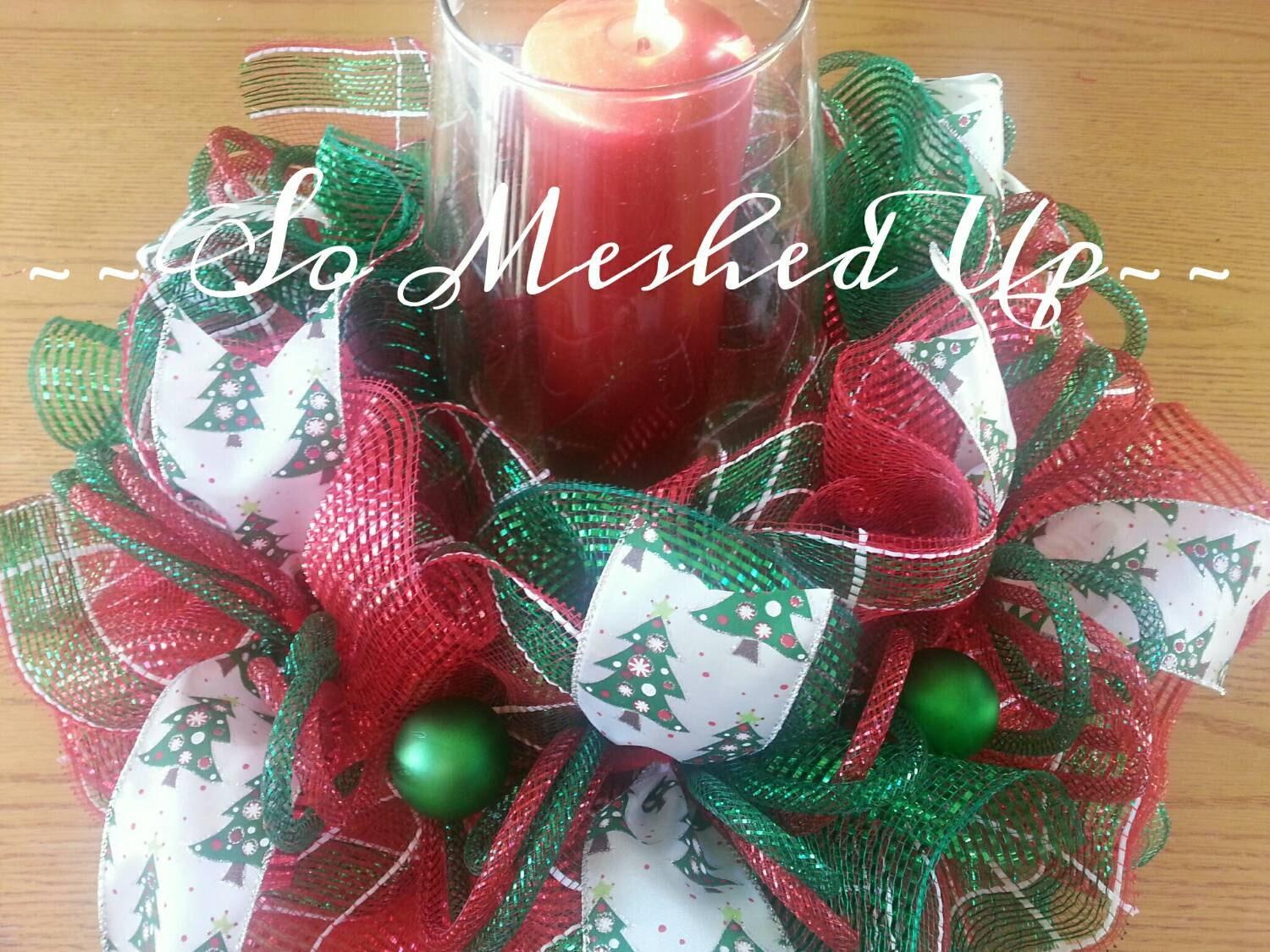 Christmas Table Centerpieces Etsy : Deco mesh christmas table centerpiece in traditional red