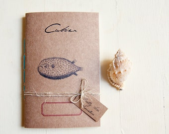Globe-fish notebook, sea nature journal, eco-friendly diary