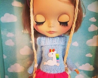 Unicorn sweater for neo blythe BABY BLUE