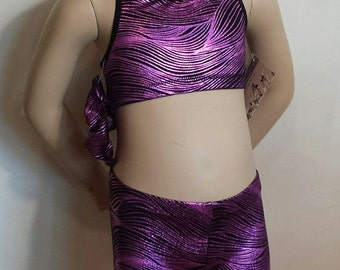 Gymnast Girls Size 4 Purple Wave Racerback Crop Top with Matching Shorts and Hair Scrunchie for Gymnastics,  Dance or Cheer / Cheer leading