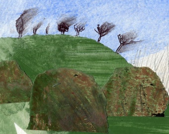 Hawthorn Bushes in the Wind; Original Art Collage Painting