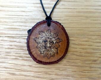 Green man oakwood pendant