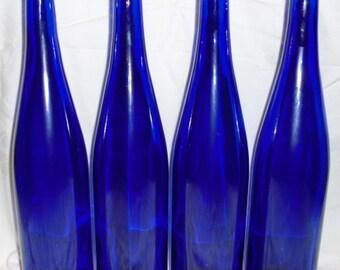 4 COBALT BLUE Wine Bottles